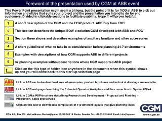 Foreword of the presentation used by CGM at ABB event