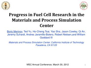 Progress in Fuel Cell Research in the Materials and Process Simulation Center