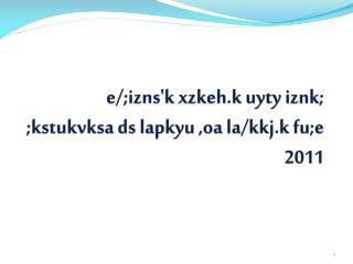 e/; izns'k xzkeh.k uyty iznk ; ; kstukvksa ds lapkyu  , oa  la/ kkj.k fu;e  2011