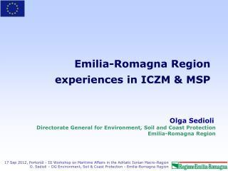 Emilia-Romagna Region  experiences in ICZM & MSP