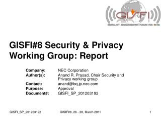GISFI#8 Security & Privacy Working Group: Report