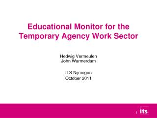 Educational Monitor for the Temporary Agency Work Sector