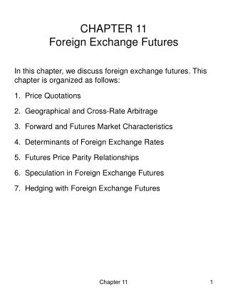 CHAPTER 11 Foreign Exchange Futures