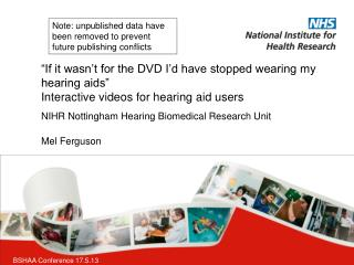 NIHR Nottingham Hearing Biomedical Research Unit