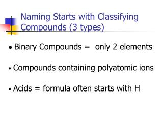 Naming Starts with Classifying Compounds (3 types)