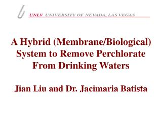 A Hybrid (Membrane/Biological) System to Remove Perchlorate From Drinking Waters