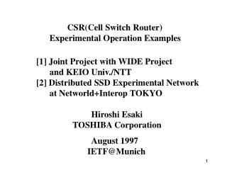 CSR(Cell Switch Router)  Experimental Operation Examples
