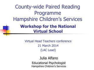 County-wide Paired Reading Programme Hampshire  Children's Services