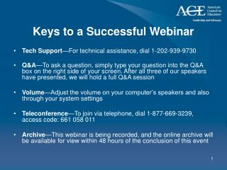 Keys to a Successful Webinar