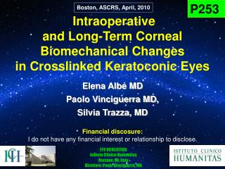 Intraoperative  and Long-Term Corneal  Biomechanical Changes  in Crosslinked Keratoconic Eyes