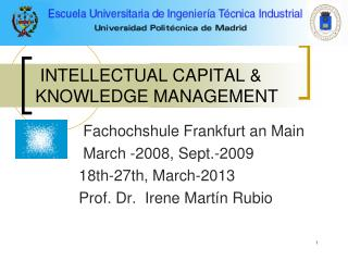 INTELLECTUAL CAPITAL & KNOWLEDGE MANAGEMENT