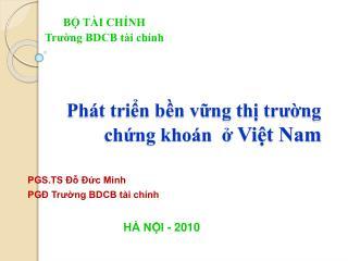 Phát triển bền vững thị trường chứng khoán  ở  Việt Nam