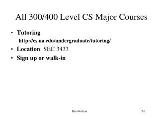All 300/400 Level CS Major Courses