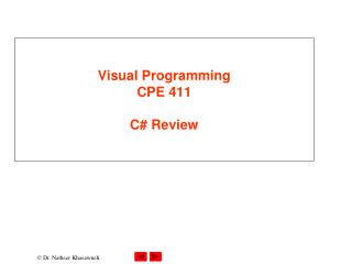 Visual Programming CPE 411  C# Review