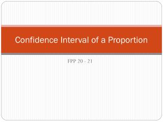 Confidence Interval of a Proportion
