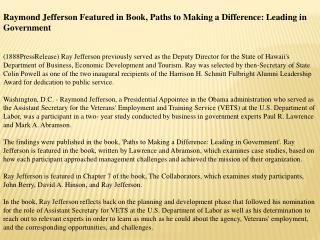 Raymond Jefferson Featured in Book, Paths to Making a Differ