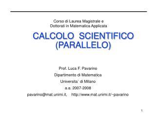 CALCOLO  SCIENTIFICO (PARALLELO)