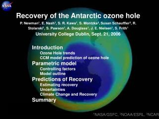 Introduction Ozone Hole trends  CCM model prediction of ozone hole Parametric model