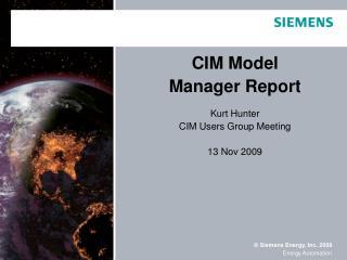CIM Model Manager Report