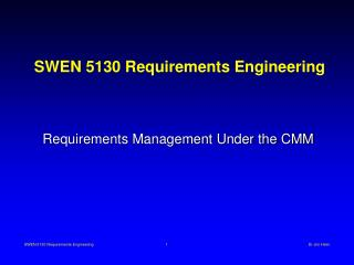 SWEN 5130 Requirements Engineering