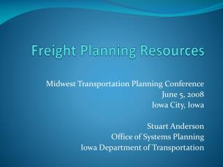 Freight Planning Resources