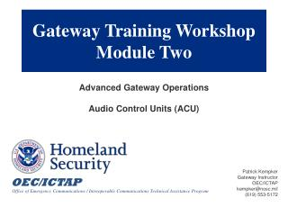 Gateway Training Workshop  Module Two