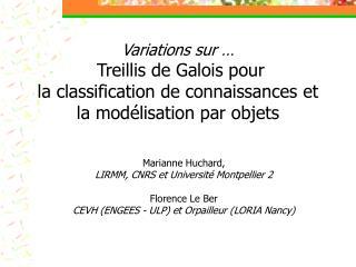 Marianne Huchard, LIRMM, CNRS et Université Montpellier 2 Florence Le Ber