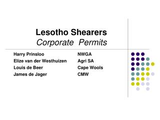 Lesotho Shearers   Corporate  Permits