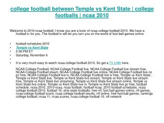 college football between Temple vs Kent State | college foot