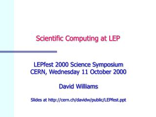 Scientific Computing at LEP