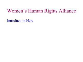 Women�s Human Rights Alliance