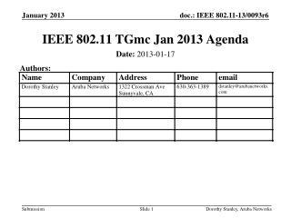 IEEE 802.11 TGmc Jan 2013 Agenda
