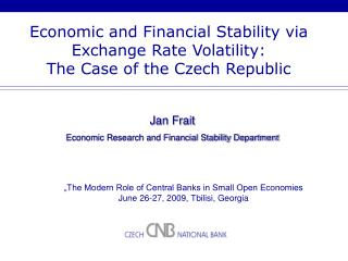 Economic and Financial Stability via Exchange Rate Volatility:  The Case of the Czech Republic
