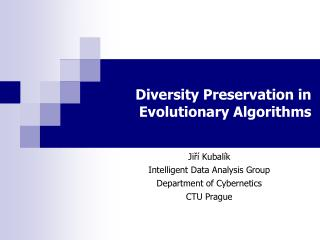 Diversity Preservation in Evolutionary Algorithms