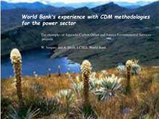 World Bank ' s experience with CDM methodologies  for the power sector