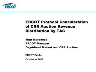 ERCOT Protocol Consideration of CRR Auction Revenue Distribution by TAC