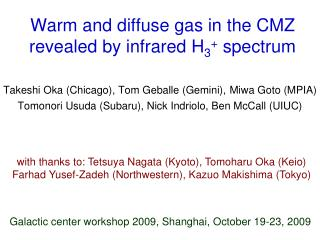 Warm and diffuse gas in the CMZ revealed by infrared H 3 +  spectrum