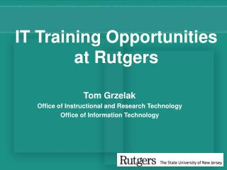IT Training Opportunities at Rutgers