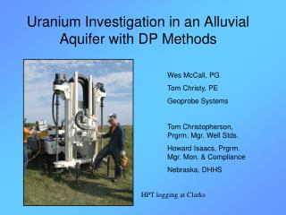 Uranium Investigation in an Alluvial Aquifer with DP Methods