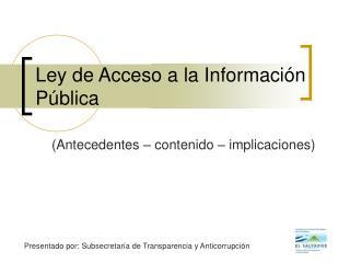 Ley de Acceso a la Información Pública