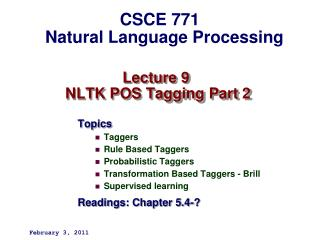 Lecture 9  NLTK POS Tagging Part 2