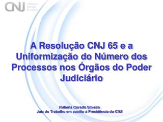 A Resolu��o CNJ 65 e a Uniformiza��o do N�mero dos Processos nos �rg�os do Poder Judici�rio