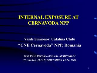INTERNAL EXPOSURE AT CERNAVODA NPP