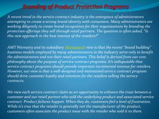 Branding of Product Protection Programs