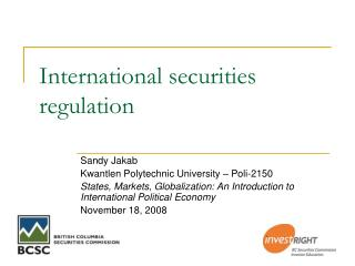 International securities regulation
