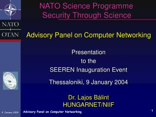 NATO Science Programme      Security Through Science