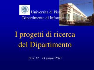 I progetti di ricerca  del Dipartimento Pisa, 12 – 13 giugno 2003