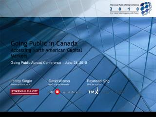 Going Public in Canada Accessing North American Capital Markets