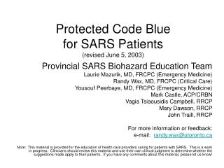Protected Code Blue  for SARS Patients revised June 5, 2003