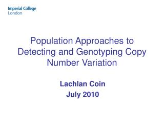Population Approaches to Detecting and Genotyping Copy Number Variation
